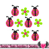 Jesse James Buttons 10 pc Ladybug Crossing Buttons & Flower Flatback Decoden Cabochons