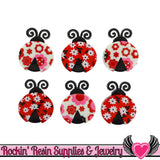 Jesse James Buttons 6 pc LADYBUG Crossing Buttons
