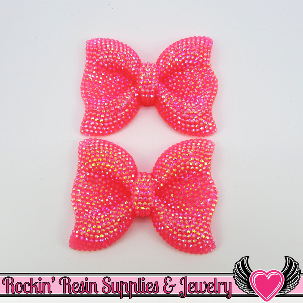 2 pc FAUX RHINESTONE AB Jelly Hot Pink BoWS Flatback Resin Decoden Cabochons