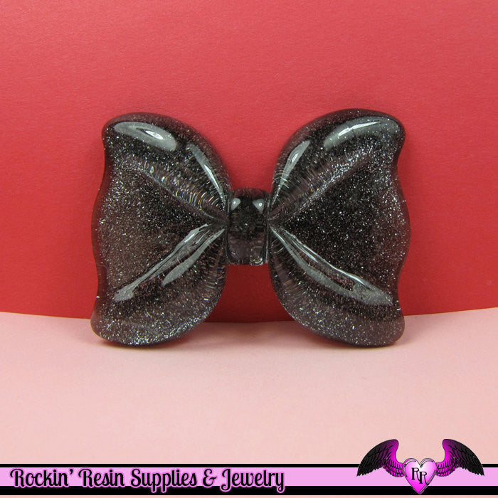 2 Pcs Black Glitter Decoden Bows Resin Cabochons 53x41mm