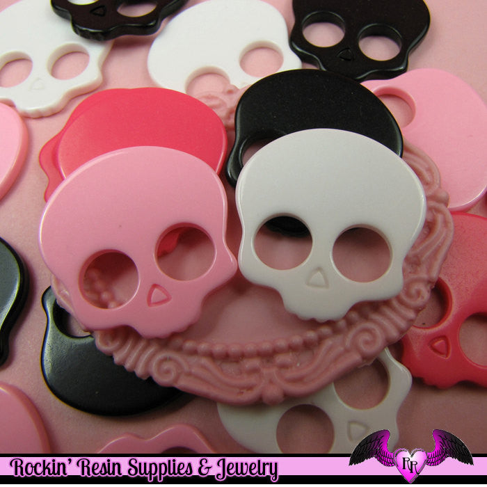 4 Pcs Skull Head Decoden Kawaii Flatback Resin Cabochons 24x24mm