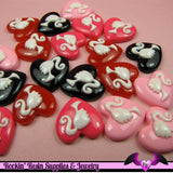 4 Pcs Ponytail Girl Heart Decoden Kawaii Flatback Resin Cabochons 19x19mm - Rockin Resin  - 3