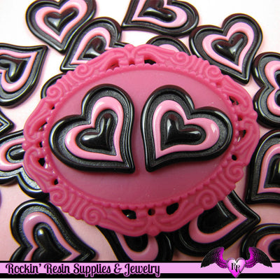 5 Pcs Black and Pink Triple Heart Decoden Kawaii Flatback Resin Cabochons 20x19mm - Rockin Resin  - 1