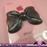 2 Pcs Black Glitter Decoden Bows Resin Cabochons 53x41mm - Rockin Resin  - 2