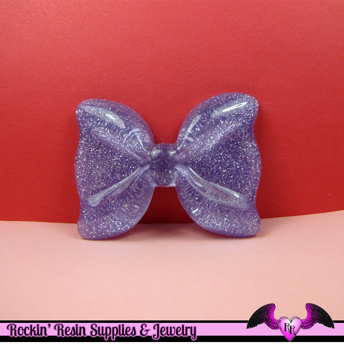 2 Pcs Purple Glitter Decoden Bows Kawaii Flatback Resin Cabochons 53x41mm - Rockin Resin  - 1