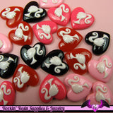 4 Pcs Ponytail Girl Heart Decoden Kawaii Flatback Resin Cabochons 19x19mm - Rockin Resin  - 2