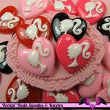 4 Pcs Ponytail Girl Heart Decoden Kawaii Flatback Resin Cabochons 19x19mm - Rockin Resin  - 4