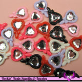 5 Pcs Heart Mirror Decoden Kawaii Flatback Resin Cabochons 25x18mm - Rockin Resin  - 1