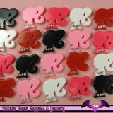 5 Pcs Ponytail Girl Head Silhouette with Rhinestones Decoden Kawaii Flatback Resin Cabochons 20x22mm - Rockin Resin  - 2