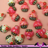 6 Pcs Cupcake Cup Cake Sweets Decoden Kawaii Flatback Resin Cabochons 16 x 18 mm - Rockin Resin  - 2
