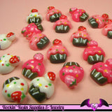 6 Pcs Cupcake Cup Cake Sweets Decoden Kawaii Flatback Resin Cabochons 16 x 18 mm - Rockin Resin  - 3
