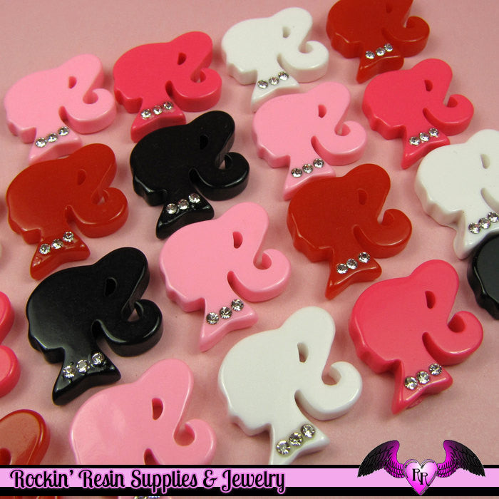 5 Pcs Ponytail Girl Head Silhouette with Rhinestones Decoden Kawaii Flatback Resin Cabochons 20x22mm - Rockin Resin  - 1