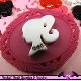 5 Pcs Ponytail Girl Head Silhouette with Rhinestones Decoden Kawaii Flatback Resin Cabochons 20x22mm - Rockin Resin  - 3