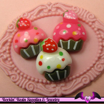 6 Pcs Cupcake Cup Cake Sweets Decoden Kawaii Flatback Resin Cabochons 16 x 18 mm - Rockin Resin  - 1