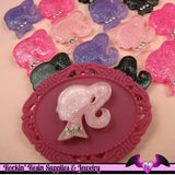 4 Pcs Ponytail Girl Head Glitter Silhouette with Rhinestones Decoden Kawaii Flatback Resin Cabochons 20mm - Rockin Resin  - 2