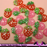 5 pieces Glitter STRAWBERRY Resin Decoden Kawaii Flatback Cabochon 19x14mm - Rockin Resin  - 2