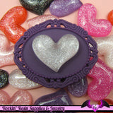 GLITTER PUFFY HEARTS Resin Decoden Kawaii Cabochons 28 x 22mm (4 pieces) - Rockin Resin  - 2