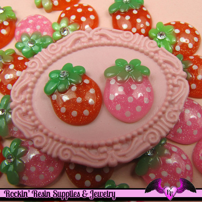 5 pieces Glitter STRAWBERRY Resin Decoden Kawaii Flatback Cabochon 19x14mm