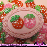 5 pieces Glitter STRAWBERRY Resin Decoden Kawaii Flatback Cabochon 19x14mm - Rockin Resin  - 1