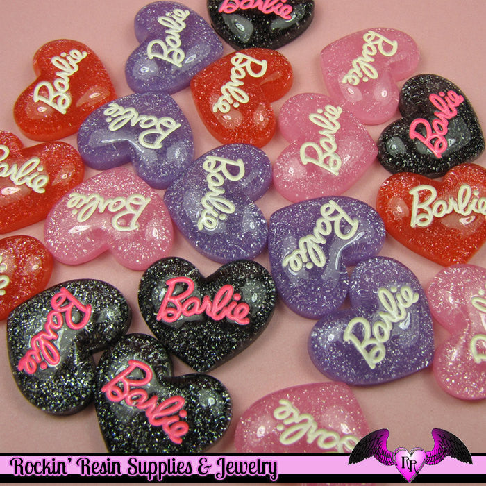 4 pieces Girly Glitter Heart Resin Decoden Kawaii Flatback Cabochon 22x25mm - Rockin Resin  - 1