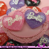 4 pieces Girly Glitter Heart Resin Decoden Kawaii Flatback Cabochon 22x25mm - Rockin Resin  - 4