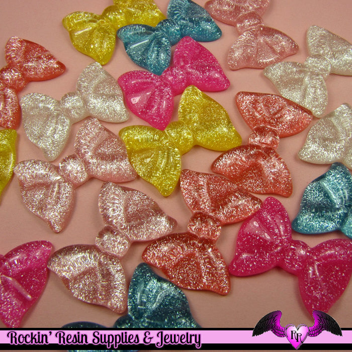 5 Pcs Glitter BOWS Kawaii Flatback Resin Cabochons 35x28mm - Rockin Resin  - 1