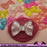 White Glitter BOWS Decoden Flatback Kawaii Cabochons 35x28mm (5 pieces) - Rockin Resin  - 4