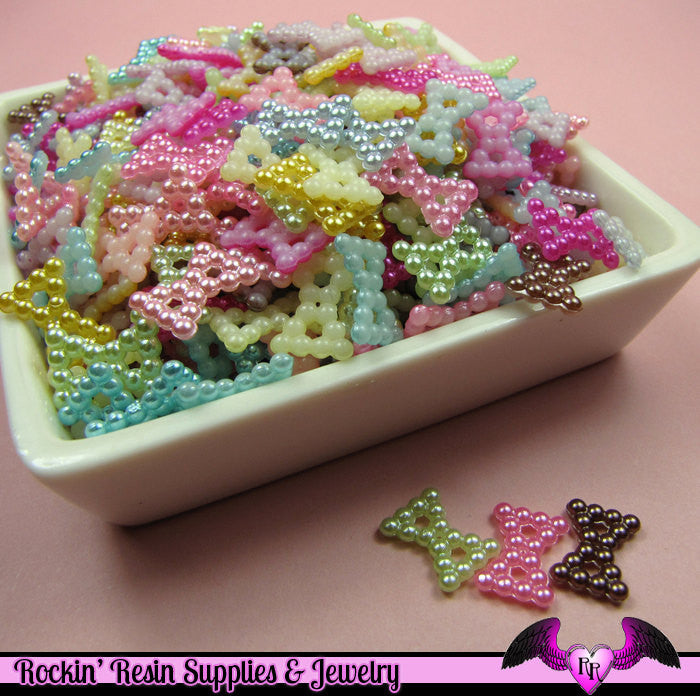 50 Pcs Pearlized BOWS Decoden Kawaii Flatback Resin Cabochons 12x9mm - Rockin Resin  - 1