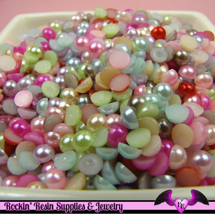 200 pcs 5 mm Bright Pastel Mix Flatback Half Pearls
