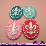 4 pieces 30x40mm Fleur De Lis Resin Cameos - Rockin Resin  - 2