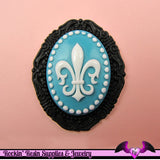 4 pieces 30x40mm Fleur De Lis Resin Cameos - Rockin Resin  - 3
