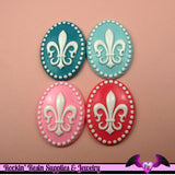 4 pieces 30x40mm Fleur De Lis Resin Cameos - Rockin Resin  - 1