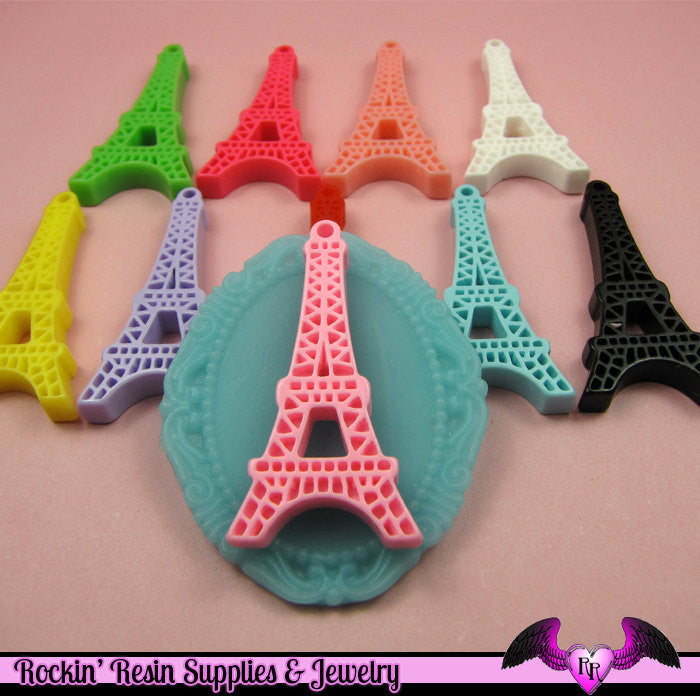 5 pieces Paris EIFFEL TOWER Resin Flatback Cabochon or Charm 47 x 23 mm - Rockin Resin  - 1