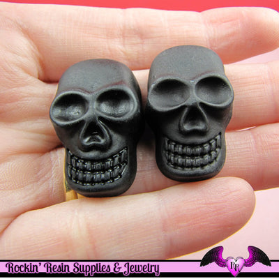 4 pieces Skeleton SKULL black head  Decoden Resin Flatback Cabochon - Rockin Resin  - 1