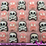 4 pieces SKULL and CROSS BONES Resin Decoden Flatback Cabochon 17x21mm - Rockin Resin  - 4
