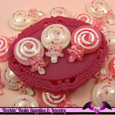 6 pieces Glitter LOLLIPOP Kawaii Resin  Flatback Cabochon 22x16mm - Rockin Resin  - 1
