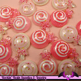 6 pieces Glitter LOLLIPOP Kawaii Resin  Flatback Cabochon 22x16mm - Rockin Resin  - 3