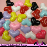 6 Pcs PUFFY HEARTS Decoden Flatback Resin Cabochon 23x18mm - Rockin Resin  - 4