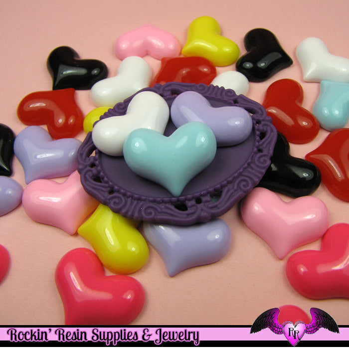 6 Pcs PUFFY HEARTS Decoden Flatback Resin Cabochon 23x18mm