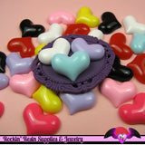 6 Pcs PUFFY HEARTS Decoden Flatback Resin Cabochon 23x18mm - Rockin Resin  - 1