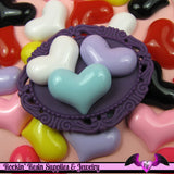 6 Pcs PUFFY HEARTS Decoden Flatback Resin Cabochon 23x18mm - Rockin Resin  - 3