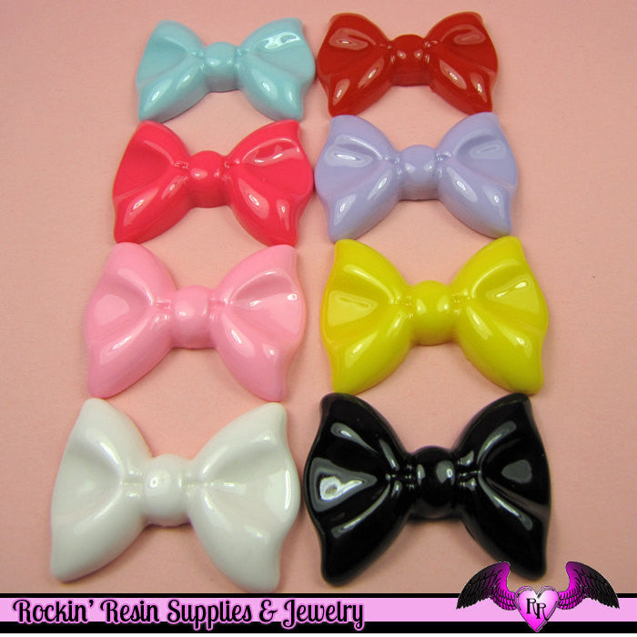 5 Pieces COLORFUL BOWS Decoden Kawaii Resin Cabochons 27 x 36mm