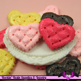 4 pcs Textured Quilted HEART  Resin Decoden Kawaii Cabochon 20 x 25mm - Rockin Resin  - 3
