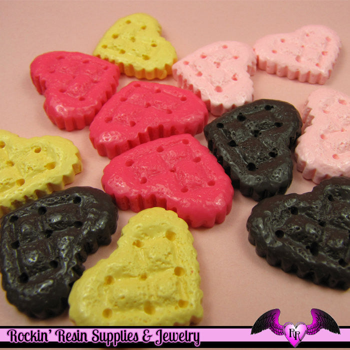 4 pcs Textured Quilted HEART  Resin Decoden Kawaii Cabochon 20 x 25mm - Rockin Resin  - 1