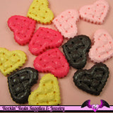 4 pcs Textured Quilted HEART  Resin Decoden Kawaii Cabochon 20 x 25mm - Rockin Resin  - 2
