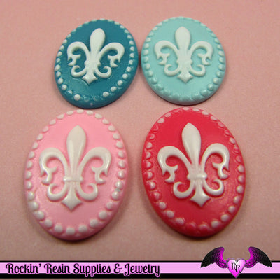 4 pieces 25x18mm Fleur De Lis Resin Cameos - Rockin Resin  - 1