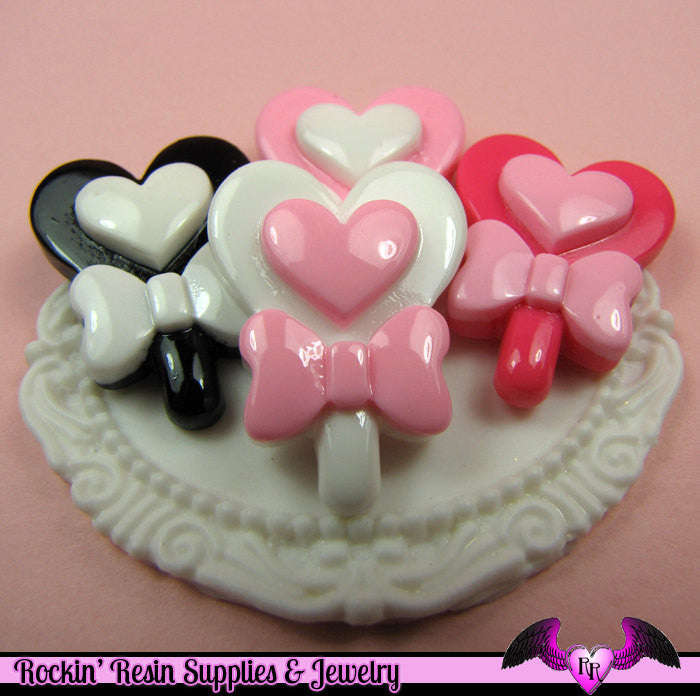 5 pieces HEART LOLLIPOP with BOW Kawaii Resin  Flatback Cabochon 27x20mm - Rockin Resin  - 1