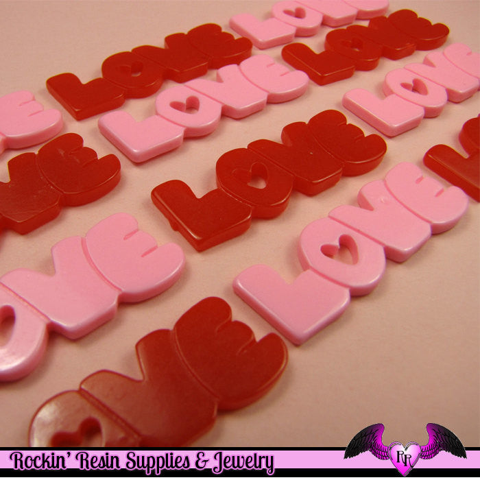 4 Pcs pink and red LOVE WORD Saying  Decoden Flatback Cabochon