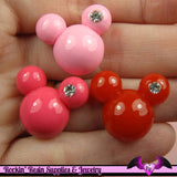 5 pieces MOUSE HEAD with CRYSTAL  Resin Decoden Flatback Cabochon - Rockin Resin  - 1