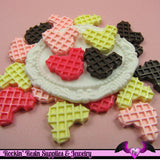 5 pieces MOUSE HEAD WAFFLE  Resin Decoden Flatback Cabochon - Rockin Resin  - 2